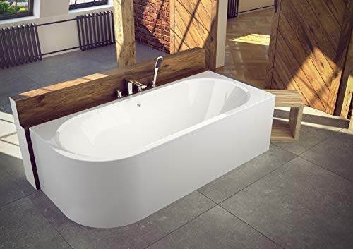 ECOLAM Badewanne Wanne Eckwanne Eckbadewanne für Zwei Modern Design Acryl weiß Avita 180x80 cm RECHTS + Schürze Ablaufgarnitur Ab- und Überlauf Automatik Füße Silikon Komplett-Set