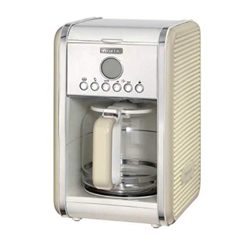 Ariete Vintage Kitchen Countertop 12 Cup Automatic Programmable Brew Timer Coffee Maker Machine, Beige