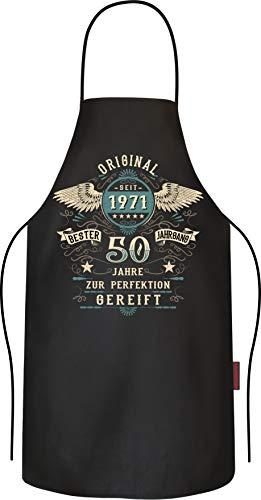 LOBO NEGRO Grillschürze Kochschürze Küchenschürze als Geschenk zum 50.Geburtstag: Vintage Retro Style reine Baumwolle