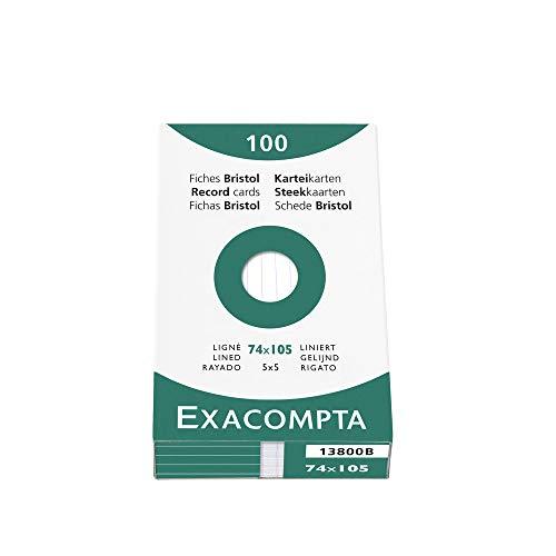 Exacompta 13800B Packung (mit 100 Karteikarten, liniert, DIN A7, 7,4 x 10,5 cm, ideal für die Schule) 1er Pack weiß