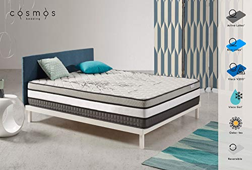 COSMOS | Matelas Solar 160x200 cm | Mousse Adaptative 8 Couches Active Latex Mousse A Mémoire Visco V200 | Système Multi Zone De Confort | Epais 30 cm | Anatomique Excellente