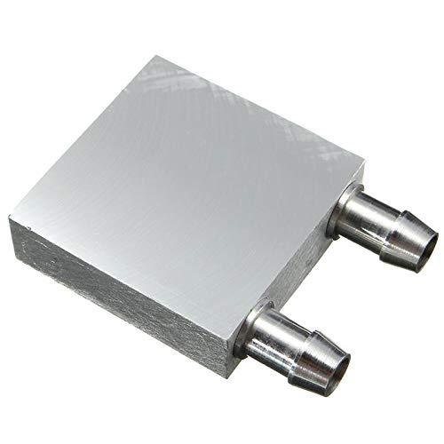 Cuasting - Bloque de refrigeración de agua de aleación de aluminio primario 40 x 40 mm para enfriador de agua líquida, sistema de disipador de calor, uso plateado para PC portátil CPU