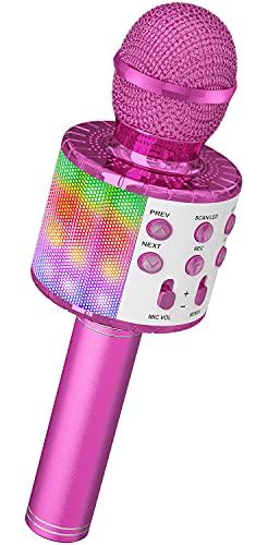 Ankuka Micrófono Inalámbrico de Karaoke 4 en 1, Micrófono Bluetooth de Mano, Máquina de Karaoke con luces LED de Baile, Reproductor de KTV para el Hogar, para Fiestas y Niños Cantando, Púrpura
