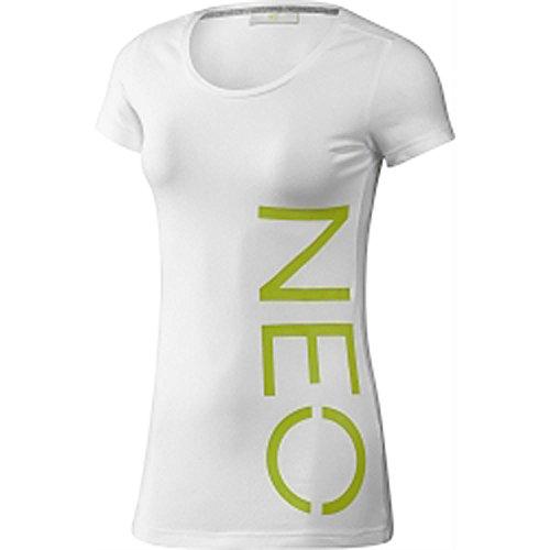 Adidas NEO Logo Tee T-Shirt Damen Baumwolle Freizeit weiß/neon G82642 (withe/intenlime, XS)