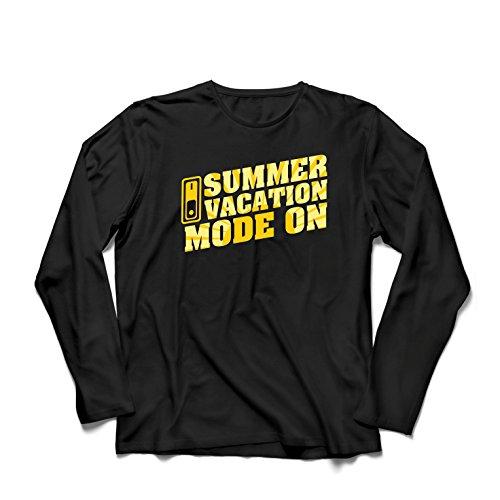 Camiseta de Manga Larga para Hombre Vacaciones de Verano - Modo Activado - Último día de Clases/Ideas de Regalos de graduación (XXX-Large Negro Multicolor)