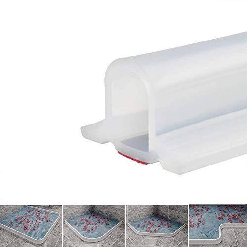 Wasserdichter Streifen der Duschtürschwelle, faltbare Duschtürschwelle, Silikon-Wassersperre mit trockener Trennung, Bodentrenngürtel, barrierefreies Zugangsdesign (50 cm,Transparent)