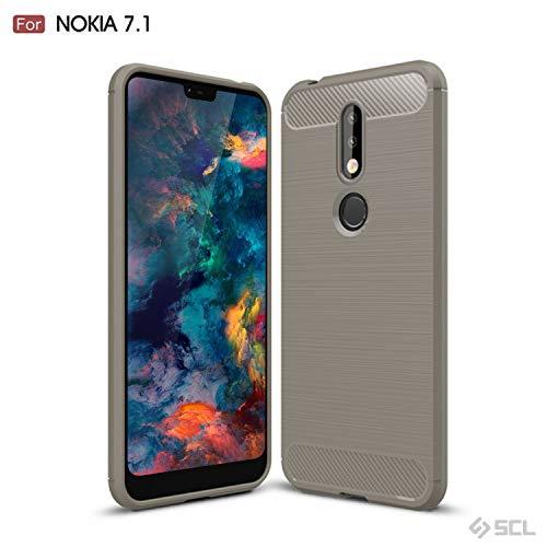 SCL Nokia 7.1 Hülle Für Nokia 7.1 Hülle, [Grün] Handyhülle Exquisite Serie-Carbon Design Schutzhülle mit Anti-Kratzer & Anti-Stoß Absorbtion Technologie für Nokia 7.1