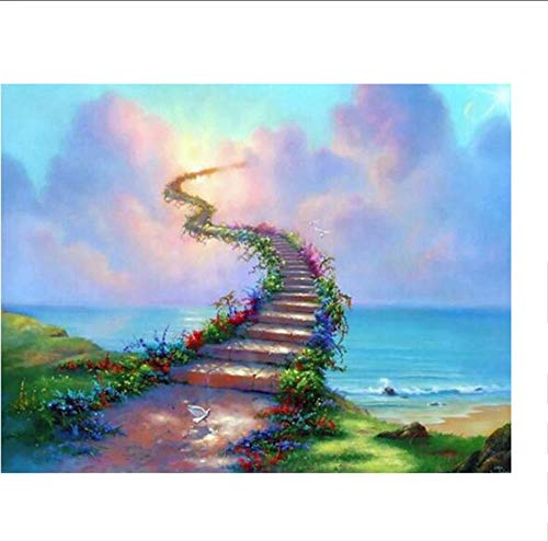 JHLP 5D DIY Diamant Schilderen Mooie Ladder Scenery Diamant Borduurwerk Volledige Cross Stitch Naaldwerk Home Decor Ronde Boor 35x45cm