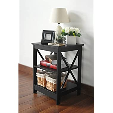 Black Finish Wooden X-Design Chair Side End Table with 3-tier Shelf