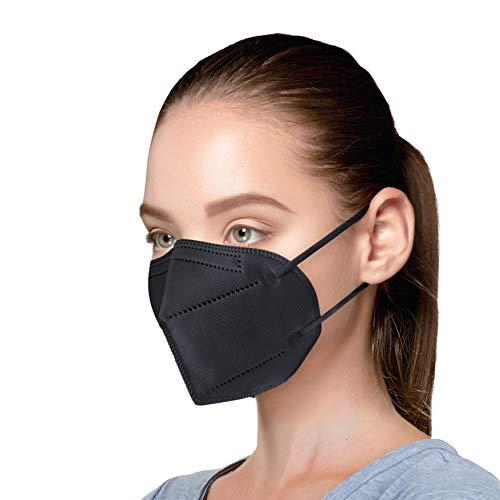 AnDum 50 x FFP2 Atemschutzmaske, EU CE 2163 zertifizierte Masken, Partikelfiltermaske, in PE-Beutel Mundschutzmaske - Schwarz