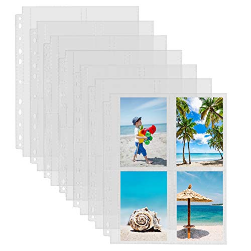 Sooez 30 Pack Heavy Duty Photo Page Protector (3.5x5, 240 Photos), Plastic Clear Photo Album Sleeves for 3-Ring Binder, Four Pockets Per Page Top Loading, Double-Sided