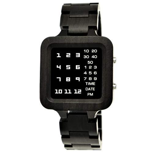 Holzwerk Germany Matrix - Reloj digital LED para hombre (ecológico), color marrón y negro