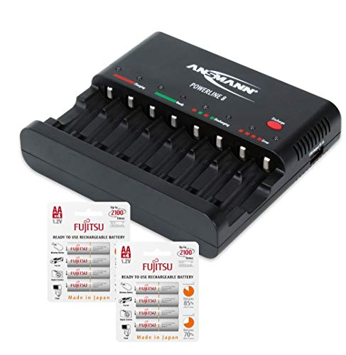 ANSMANN Individual Cell Battery Charger Powerline 8 for NiMH Rechargeable Batteries AAA & AA with USB Port for Smartphone - 8 Bay Universal recharger Plus 8-Pack Fujitsu AA Batteries.