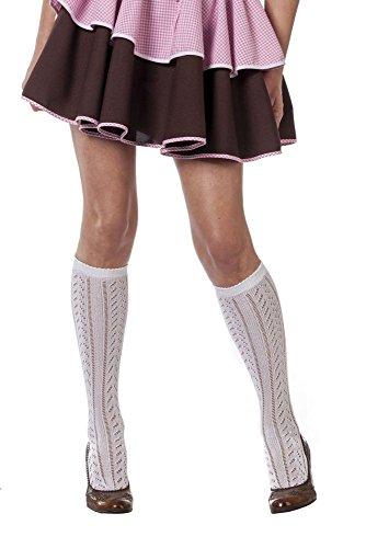 Wilbers 51028 Bayrische Trachtenstrümpfe Kniestrümpfe Socken Strümpfe Tiroler Tirol Wiesn Gaudi Hüttngaudi Oktoberfest Karneval Fasching Accessoire Weiß 39-42