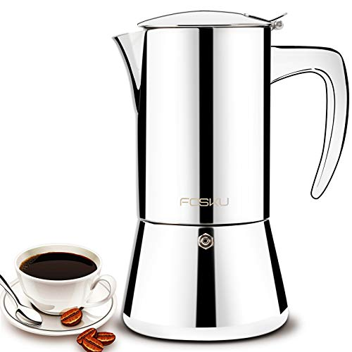 FOSKU Stovetop Espresso Maker, Stainless Steel Moka Pot, Italian Style Coffee Maker, Espresso Pot For 6 Cups, 300ml (Silver)