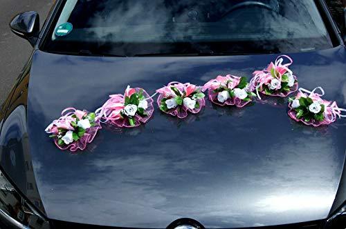 tatjana-land-deko 6 St. Autoschmuck Blumen Blüten Girlanden Hochzeit Autodeko Kunstblume LA50