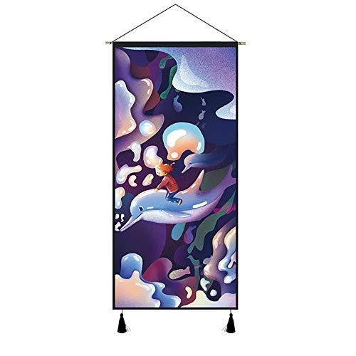 PJX Creativo de la vida marina de tela colgante de la pared de la decoración del medidor eléctrico de la caja de la cubierta del suelo del mar de tela tapiz de delfines mural-4510