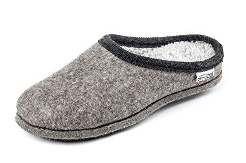 Orthopant Filzpantoffel BAITA - Hausschuhe Pantoffel Herren Damen aus feinem Wollfilz, Grau mit schwarzer Borte, BA-101-37