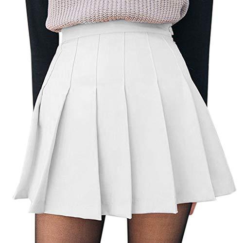 Women Girls Short High Waist Pleated Skater Tennis School Skirt S-XL (A-White , S )