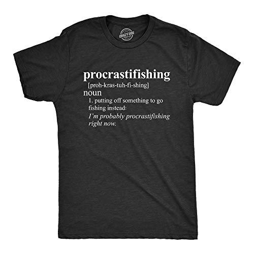 Crazy Dog T-Shirts Mens Procrastifishing T Shirt Funny Fishing Gift for Dad Grandpa Fisherman Fish (Black) - XL