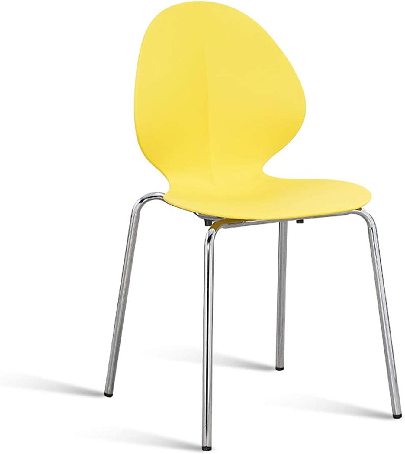 Wrought Iron Back Chair Home Iron Leg Dining Chair Adult Tea Shop Fast Food Stool Simple Chair (color   Yellow)