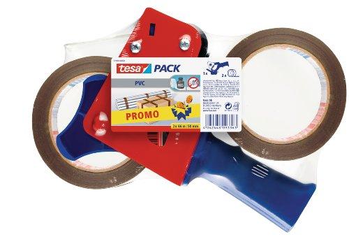 tesapack Ultra Strong und Handabroller im Set mit 2 besonders reißfesten PVC-Klebebändern - Braun - 66 m x 50 mm