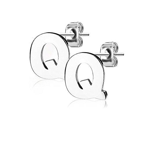 Bungsa® BUCHSTABE Q Ohrstecker Silber - BUCHSTABEN Q Ohrring in Silber - Alphabet Ohrringe zum Stecken - aus Edelstahl - Ohrschmuck für Damen, Kinder & Herren