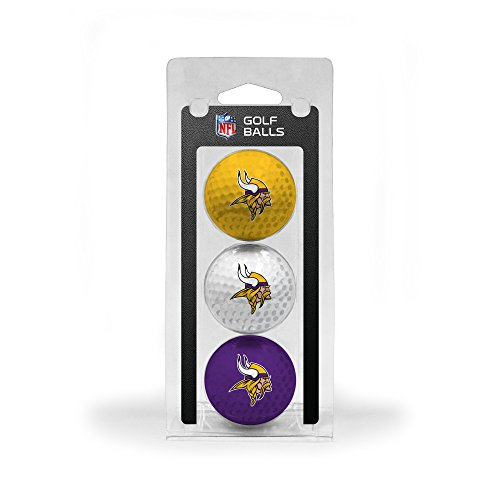 New Team Golf NFL Minnesota Vikings Regulation Size Golf Balls, 3 Pack, Full Color Durable Team Impr...