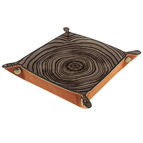 AITAI Bandeja de valet de cuero vegano, organizador de mesita de noche, placa de almacenamiento para escritorio, anillo de árbol, marrón