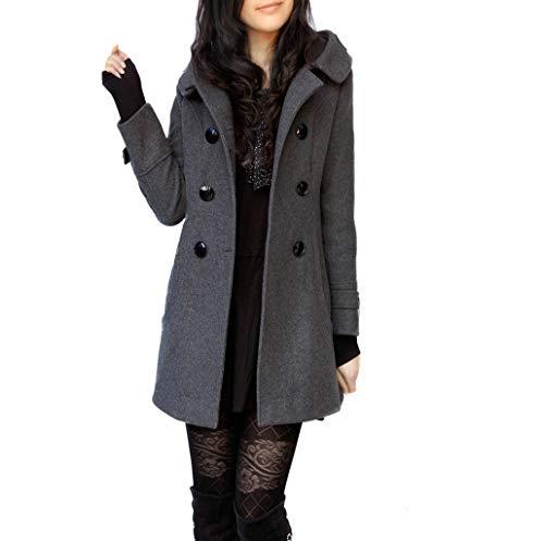 URSING Winterparka Damen Winter Mantel Klassischen Doppelten Breasted Trenchcoat Warm Schlank Vintage Jacke lammfell Mantel Windmantel Outwear Wool Coat