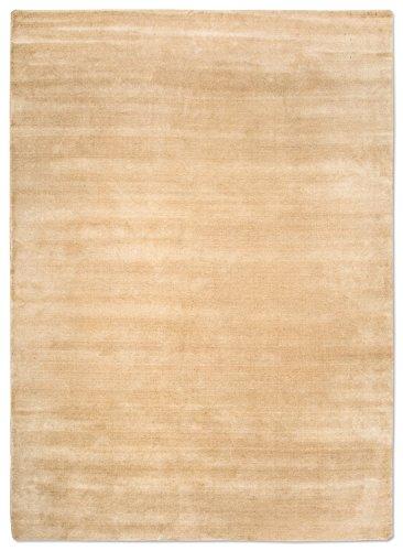 Morgenland Gabbeh Loribaft Teppich Beige Einfarbig Uni Schurwolle Handgewebt 140 x 70 cm