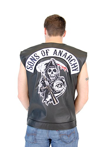 SOA Sons of Anarchy - Chaleco de motorista (piel), color negro Negro XXL