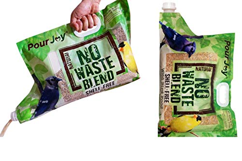 Pour Joy No Mess, No Waste, Shell-Free Blends, 2x10 lb Bags with Built-in Spout Allows You to Fill Feeders Quickly & Easily Without Scooping, No Spilling Wild Bird Seed, Premium Bird Food (2)