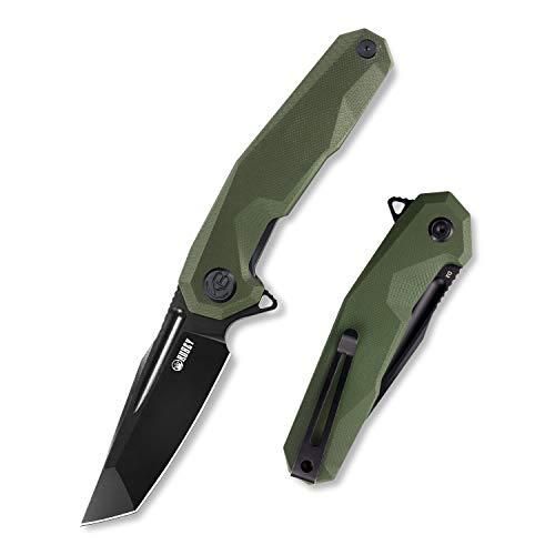 KUBEY Carve KB237 Einhandmesser Klappmesser aus Tanto D2 Stahl schwarz, Klein Taschenmesser, Unisex, OD grün