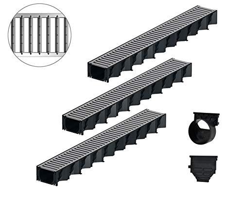 3x1m ACO Hexaline 2.0 Entwässerungsrinne Stegrost Stahl verzinkt Ablauf horizontal Bodenrinne Terrassenrinne