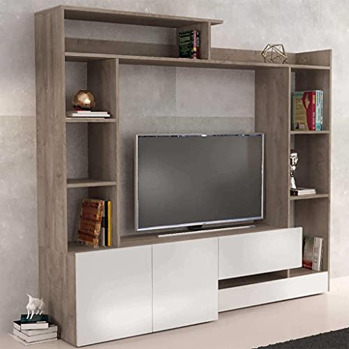 Milani Home s.r.l.s. Parete attrezzata Porta TV Soggiorno Moderna di Design 180 x 28/40 x...