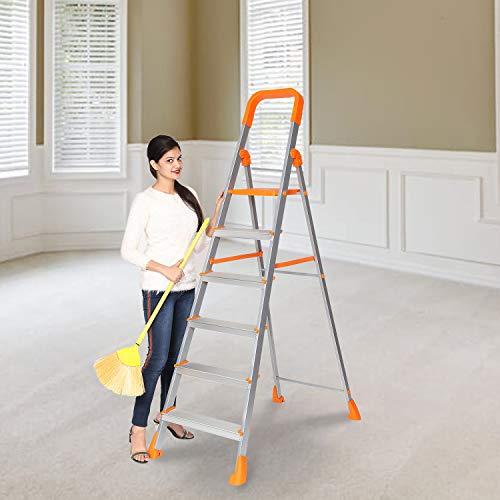 Happer Premium Foldable Aluminium Step Ladder, Clamber Pro, 6 Steps (Orange & Satin)
