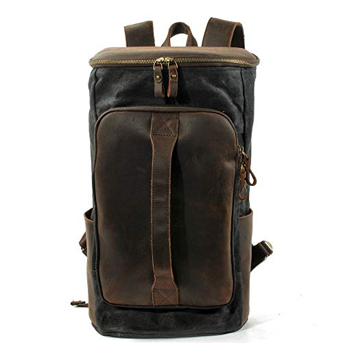 QinWenYan Mens Backpack Mens Casual Daypacks Backpack Waterproof School Laptop Backpack Canvas Leather Polyester Rucksack Casual Hiking Travel College Bag for Work, School, Travel