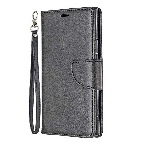 Zl One Compatível com/Substituição para Capa de telefone Sony Xperia XZ1 PU Couro Proteção Cartão Slots Capa Carteira Flip Capa (Preto)