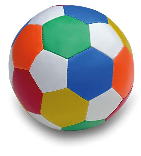 alldoro 60313 - Softball Ø 18 cm, Fußball in Mehrfarbig / bunt, Softfußball aus Schaumstoff, weicher Schaumstoffball, Kinderball für Drinnen und Draußen, Spielball für Kinder und Babys ab 0 Monaten