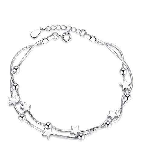 Hilier Pulsera de cadena de plata de ley 925 para niñas y mujeres (estrella de la suerte), 16 cm + extensión de 4 cm