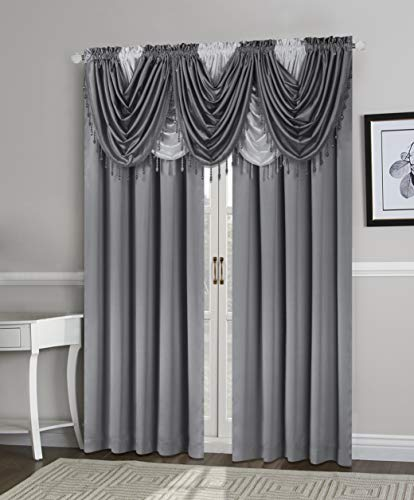 Home Basics Regency Light-Filtering Window Curtain Collection | Luxurious Feel | Classic Look | Solid Color | 100% Polyester | Single Rod Pocket | (Gray, Waterfall Valance | 55x37)