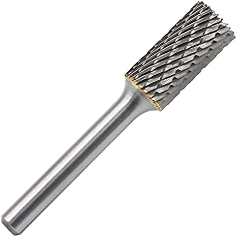 10mm//0.39 Head 6mm//0.23 Shank Rannb Rotary File Cylinder Shape Double Cut Tungsten Carbide Burrs File