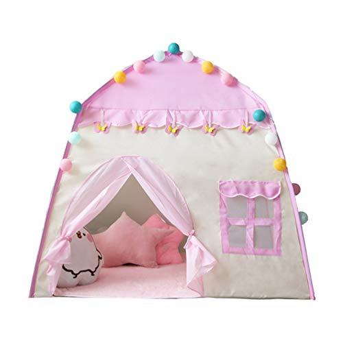YYRCP Kasteel Teepee Princess Tent, Groot Speelhuis voor Kids Festival Fee Prinses Kasteel Tent, Deluxe Meisjes Kinderen spelen Kasteel Tent voor Tuin Buiten Binnen, Roze & Beige, 130×100×130Cm