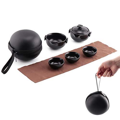 Mini tetera de cerámica china portátil con bolsa protectora, viaje Kung Fu té 1 olla 3 mini tazas todo en uno para camping al aire libre