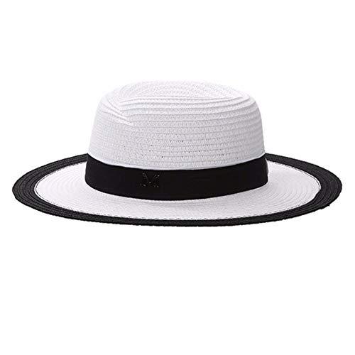 Yunjio Sombrero Mujer Verano Sombreros Paja Sombrero de Paja de protección Solar Playa Sombrero de Paja Sombrero de Paja Enrollable White