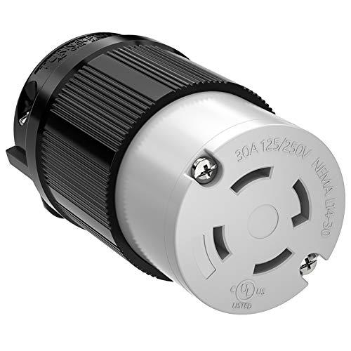 Kohree NEMA L14-30R Generator Female Plug 30 Amp 4 Prong, Twist Locking Plug Receptacle Connector 125/250V, Industrial Grade Outlet Adapter 7,500W, UL Listed