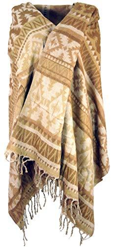 GURU SHOP GURU SHOP Weicher Pashmina Schal/Stola, Schultertuch, Herren/Damen, Maya Muster Beige, Synthetisch, Size:One Size, 200x100 cm, Schals Alternative Bekleidung