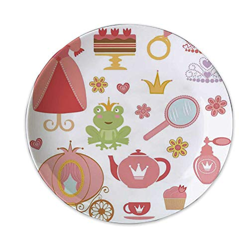 ALUONI Kids Decor Fashionable Decorative Plate,Princess Tiara Tea Party Mirror Teapot Tea Party Frog Crown Fairy Cupcake Girls Decorative for Office,6 Inches