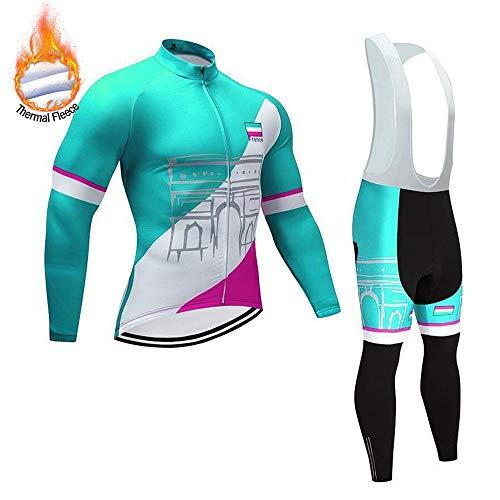 MUBODO Abbigliamento da Ciclismo Invernale a Manica Lunga per Uomo, Maglia da Ciclismo Traspirante e Pantaloni per Mountain Bike